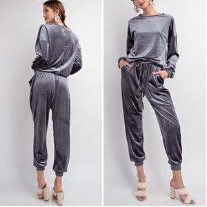 Pants - SOLD OUT Velvet Slate Joggers Jumpsuit Medium